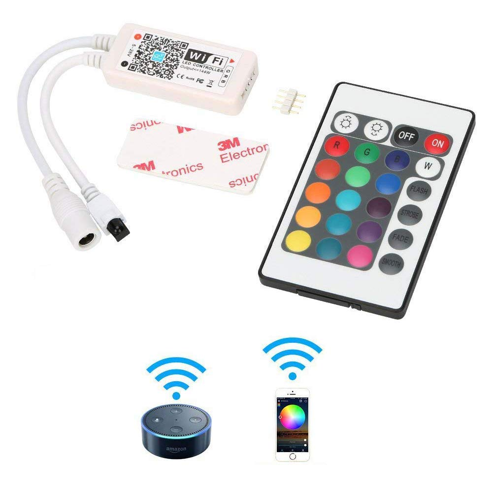 Urlitoy WiFi RGB Controller for LED Strip Lights SMD 5050 3528 LED String with Alexa Android iOS System Phone Compatible with Alexa and Google Home Assistant