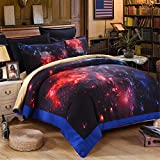 EsyDream Galaxy Quilt Cover,Red Color Hot Solar System Galaxy Bedding Sheets,Hot Fire Space King Queen Size 100% Polyester (No Comforter),King Size