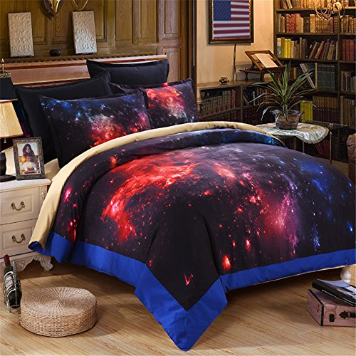 EsyDream Galaxy Quilt Cover,Red Color Hot Solar System Galaxy Bedding Sheets,Hot Fire Space King Queen Size 100% Polyester (No Comforter),King Size by EsyDream