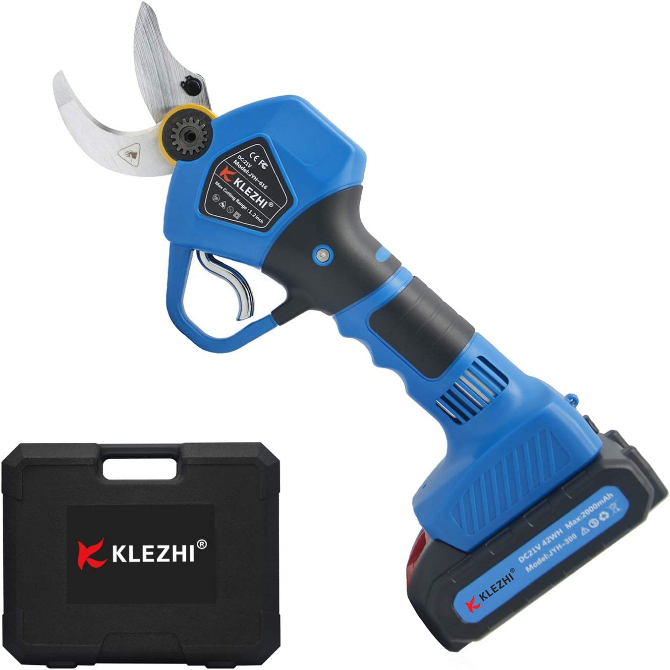 K KLEZHI Professional Cordless Electric Pruning Shears with 2 PCS Backup Rechargeable 2Ah Lithium Battery Powered Tree Branch Pruner, 30mm (1.2 Inch) Cutting Diameter, 6-8 Working Hours