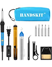 Soldering Iron, Soldering Iron Kit Electronics, 60W Adjustable Temperature Welding Tool, 5pcs Soldering Iron Tip, Soldering Iron Stand, Desoldering Pump, Tweezers, Solder Wire, Carry Bag