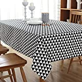 MQHY Festivals Retro Linen Wood Grain Tablecloths Household Livingroom Coffee Table Dining Table Cotton Tablecloth Hotel Conference High-Grade Tablecloth Fashion Simple,Black Triangle,L70CMW70CM