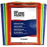 VOLSERO Reusable Dry Erase Pockets - Assorted Colors (14-Pack) - Premium, Heavy Duty, Oversized (10''x13'') Perfect Teacher Supplies for Classroom Organization & Decorations