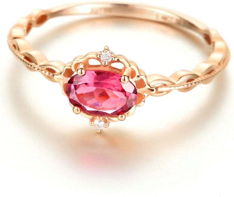 AnaZoz (Tamaño Personalizado) 18K Oro Joyas Anillo Diamante Anillo Mujer Anillo Anillo de Diamante Rubí Piedras Preciosas Oval Anillo Oro Rosa