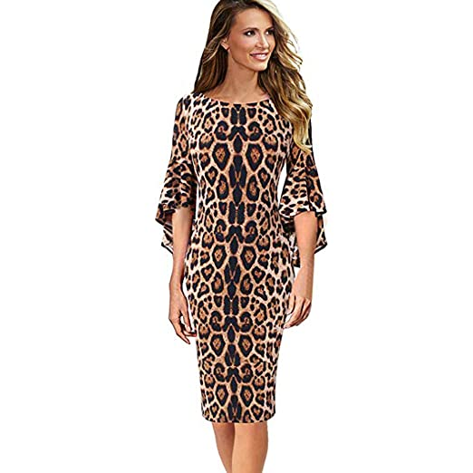 1f4a1453a6b5 Owill Womens Leopard Print Elegant Bell Sleeve Work Party Cocktail Sheath  Dress at Amazon Women's Clothing store: