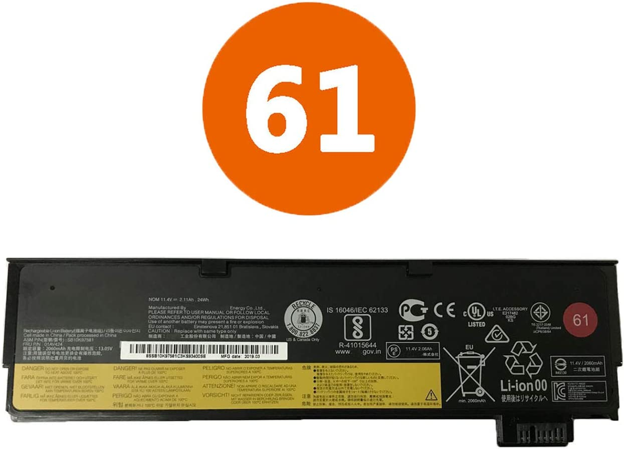 BOWEIRUI Replacement Laptop Battery for Lenovo 01AV424 (11.4V 24Wh 2110mAh) ThinkPad T470 T570 P51S A475 T480 Series 61 SB10K97579 SB10K97580 SB10K97581 SB10K97597 01AV423 01AV424 01AV452 4X50M08810