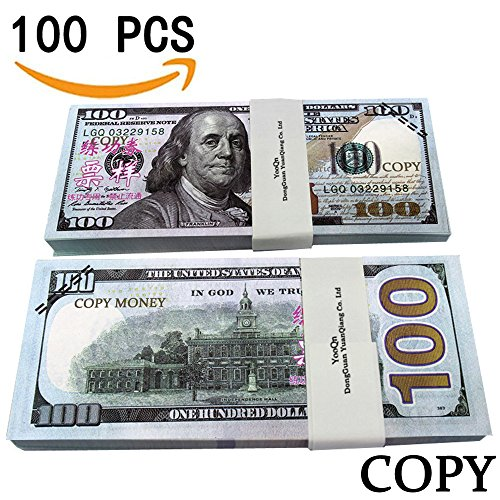 ,000 Full Print New Style Money Copy of $100 Dollar Bills Stack, in Authentic Bank Strap ()