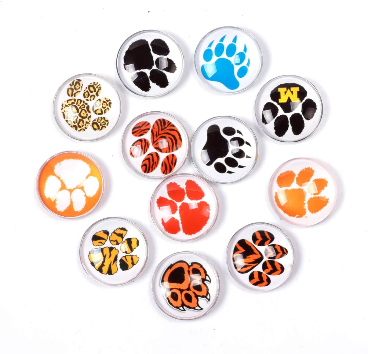 Bear Paw Refrigerator Magnet Party Set of 12 Pack 3D Round Face For Silver Fridge Office Dry Erase Board Stainless Steel Door Freezer Whiteboard Cabinet Magnetic Great Fun for Adult Girl Boy Kid