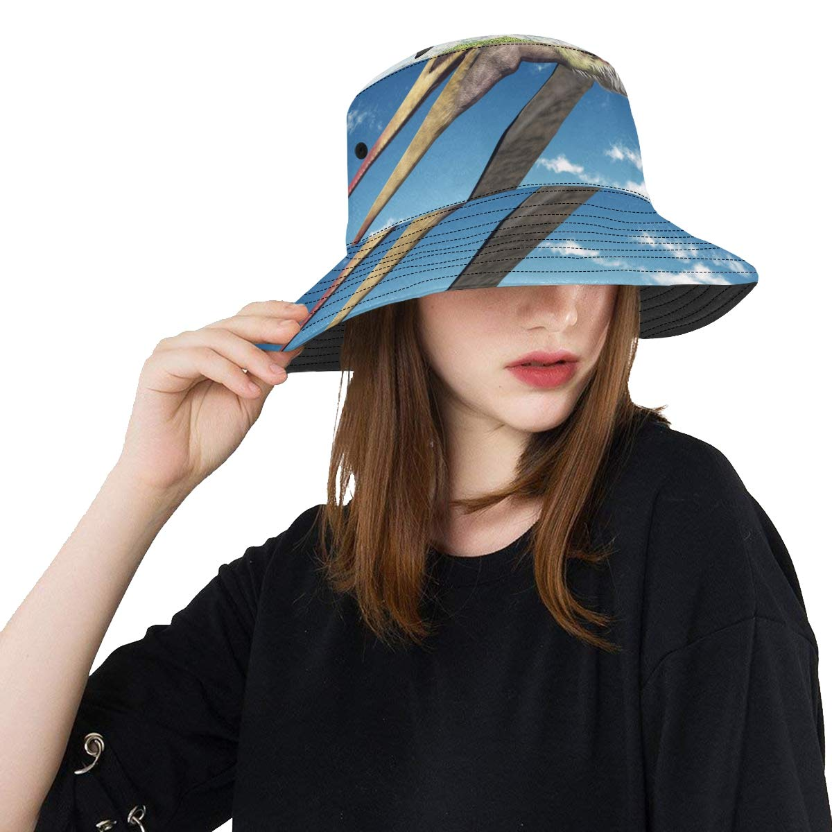 Sensitive Pterosaur New Summer Unisex Cotton Fashion Fishing Sun Bucket Hats for Kid Teens Women and Men with Customize Top Packable Fisherman Cap for Outdoor Travel