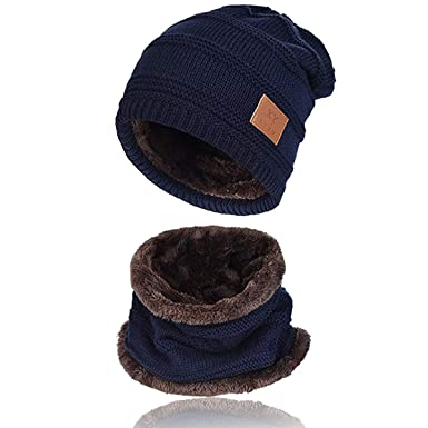 62e1369f038 Image Unavailable. Image not available for. Colour  Kata Beanie Hat Scarf  Set Thick Knit Hat Warm Fleece Lined ...