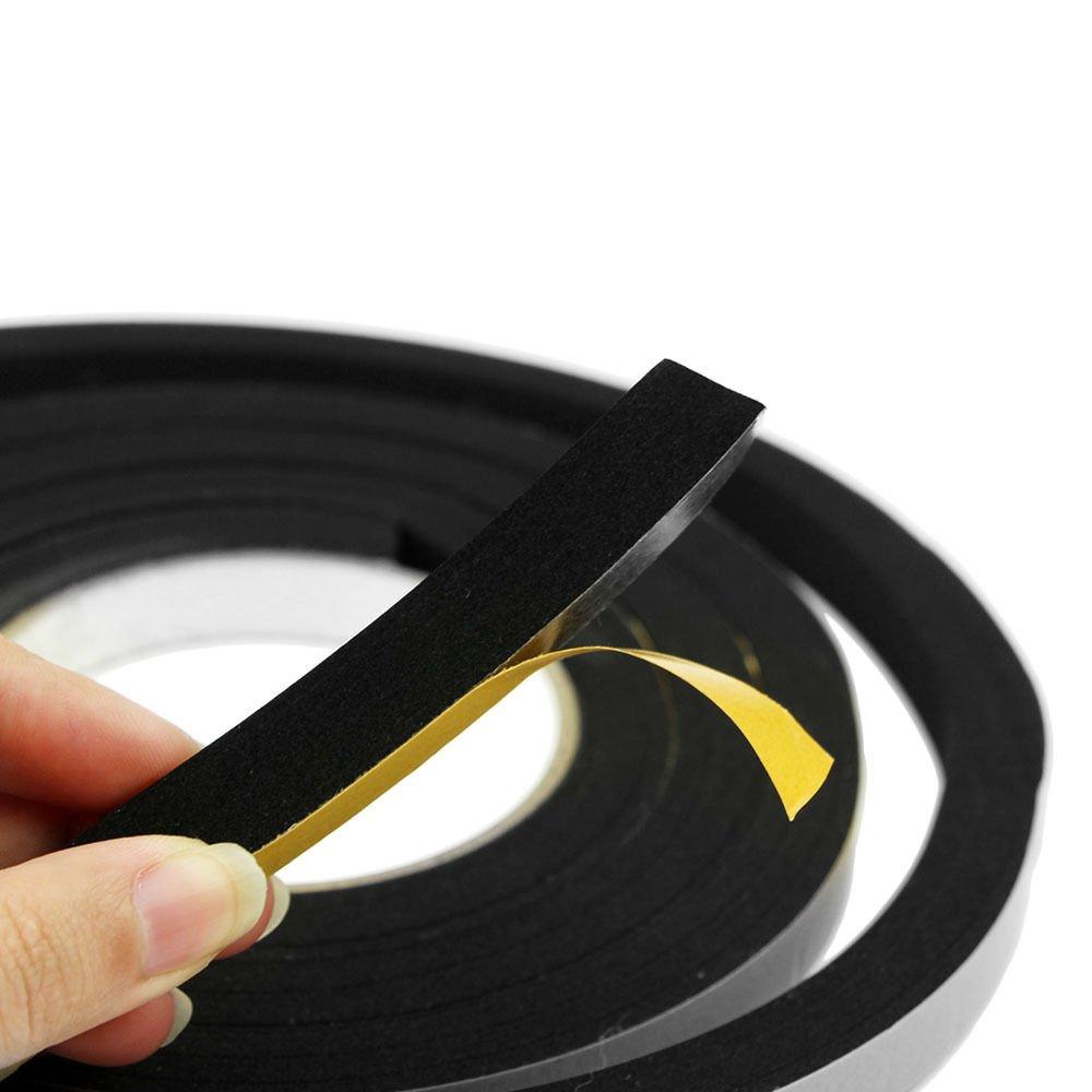 2PCS Thick Window Door Seal Black Foam Tape Weather Strip 2.4 Metres x 12mm sq