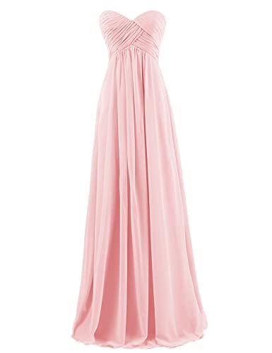 yan qiong Women's Sweetheart Bridesmaid Long Evening Gown Pink L