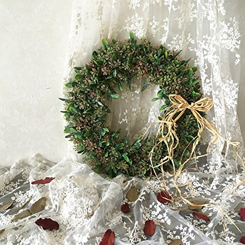 Leaves Bow (Adeeing 15 Inches Artificial Green Leaf Wreath with Bow Door Hanging Wall Window Decoration Holiday Festival Wedding Decor, Style C)