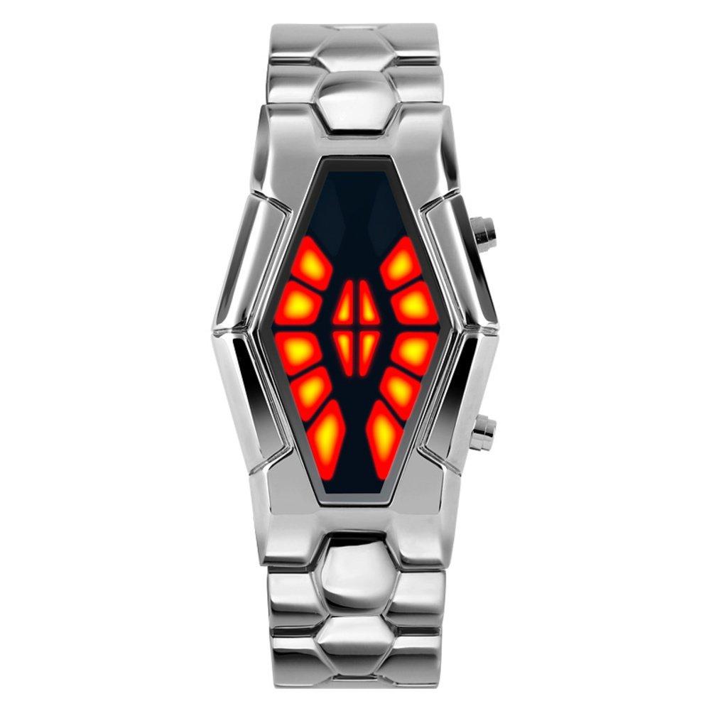 Men's waterproof sports watch,Cobra shape zinc alloy strap fashion cool two-color led boot animation wristwatch-C