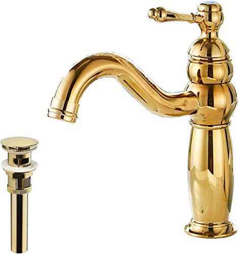 GGStudy Gold Bathroom Faucet Single Handle One Hole Bathroom Vanity Faucet Basin Mixer Tap Matching Pop Up Drain With Overflow
