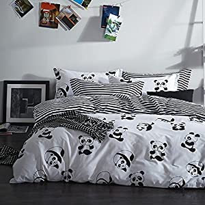 MZPRIDE Black and White Duvet Cover Set 100% Cotton Black and White Bedding