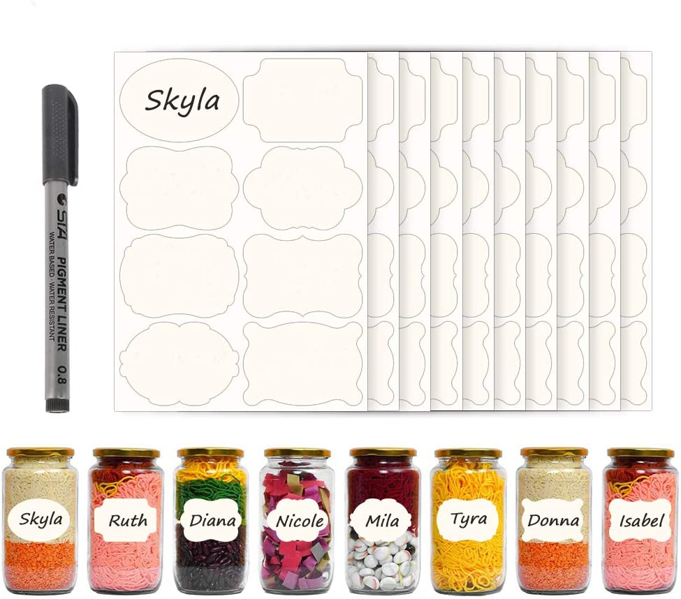 80 Shaped Dissolvable Labels Stickers for Food containers, Canning Jars, 1.97x1.38 inch No Residue Labels