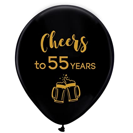Amazon Black Cheers To 55 Years Latex Balloons 12inch 16pcs 55th Birthday Decorations Party Supplies For Man And Woman Kitchen Dining