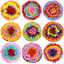 "Supla 9 Pcs Fiesta Paper Flowers Pom Poms Flowers Tissue Pom Poms 15.4"" Wide for Mexican Rainbow Theme Party Fiesta Cinco De Mayo Party"