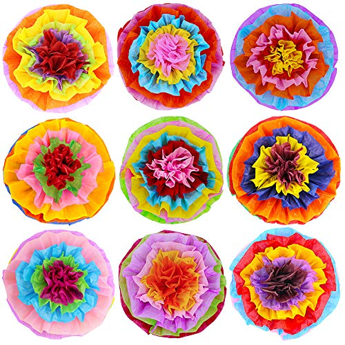 Flower Ribbon Decor - Supla 9 Pcs Fiesta Paper Flowers Pom Poms Flowers Tissue Pom Poms 15.4