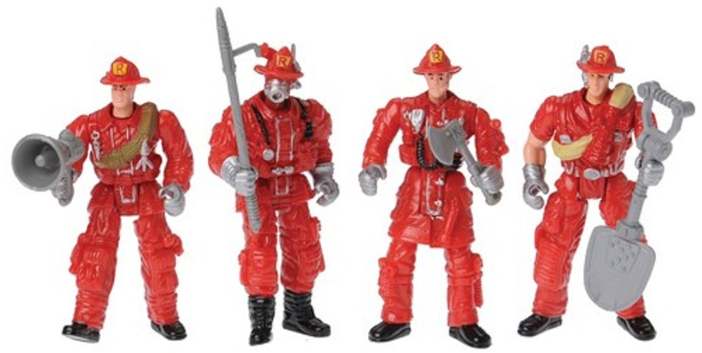 Set of 12 Poseable Firefighters Four Assorted Poses US Toy 4240