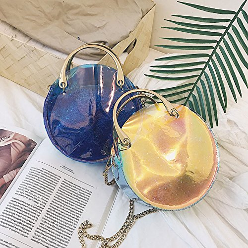 Messenger circle bag Fashion bag semi transparent female laser bag Black shoulder chain 2018 xfv6YZqx