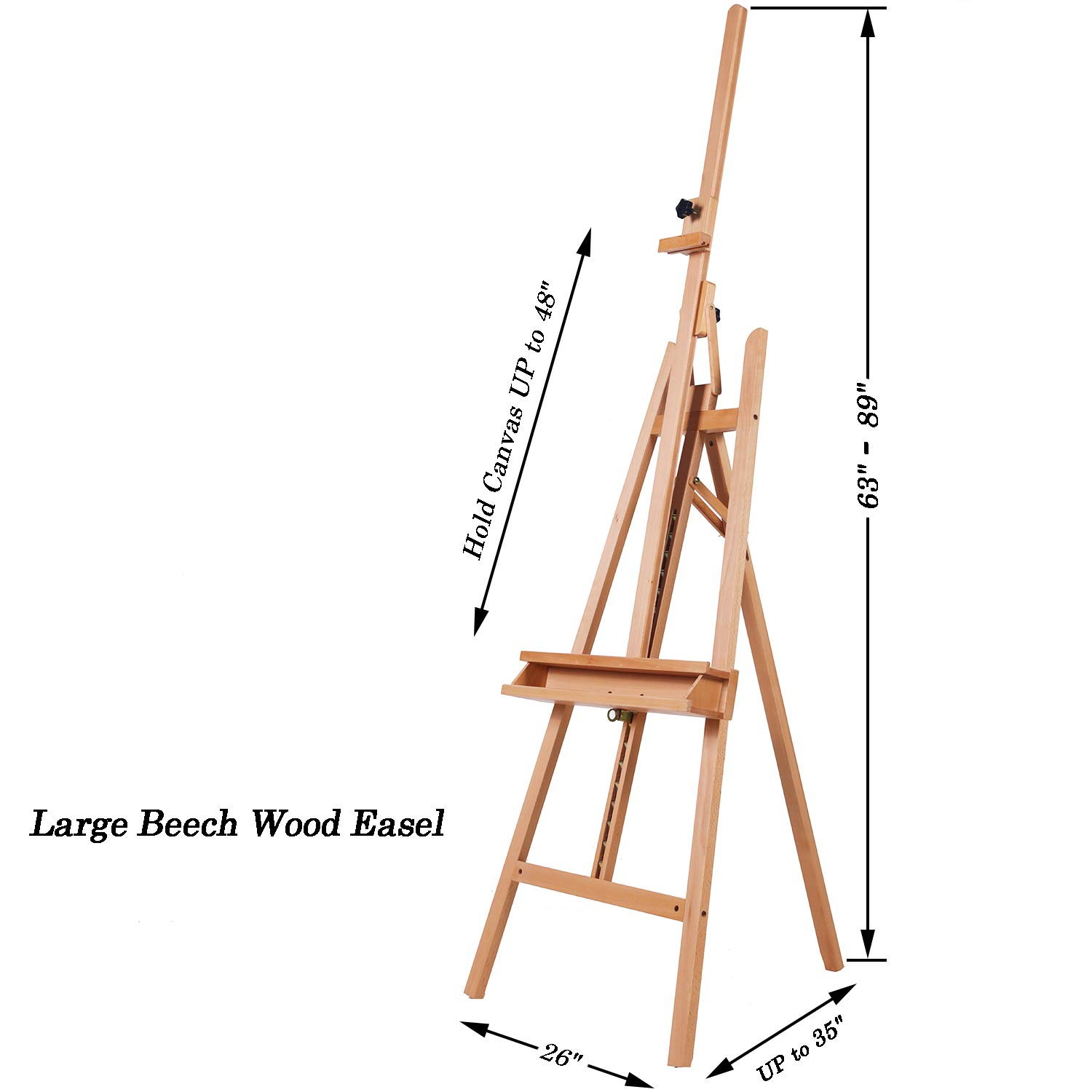 ATWORTH Large Painters Easel Adjustable Beech Wood Artist Easel, Studio Easel for Adults with Brush Holder, Holds Canvas up to 48'' by ATWORTH (Image #1)