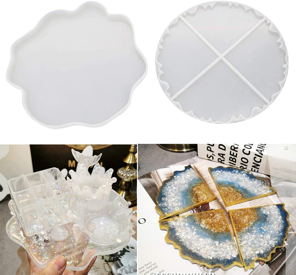 Home Decor Bowl Mats Cups Mats Dualshine Silicon Coaster Molds Geode for Resin Casting,5 Pack Irregular Coaster Molds for DIY Crafts