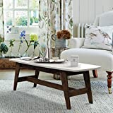 DecorNation Serene Wooden Coffee Table | Movable Table | Center Table | Bench Footrest Table | Mid Century Modern Table Study And Work Table, White.