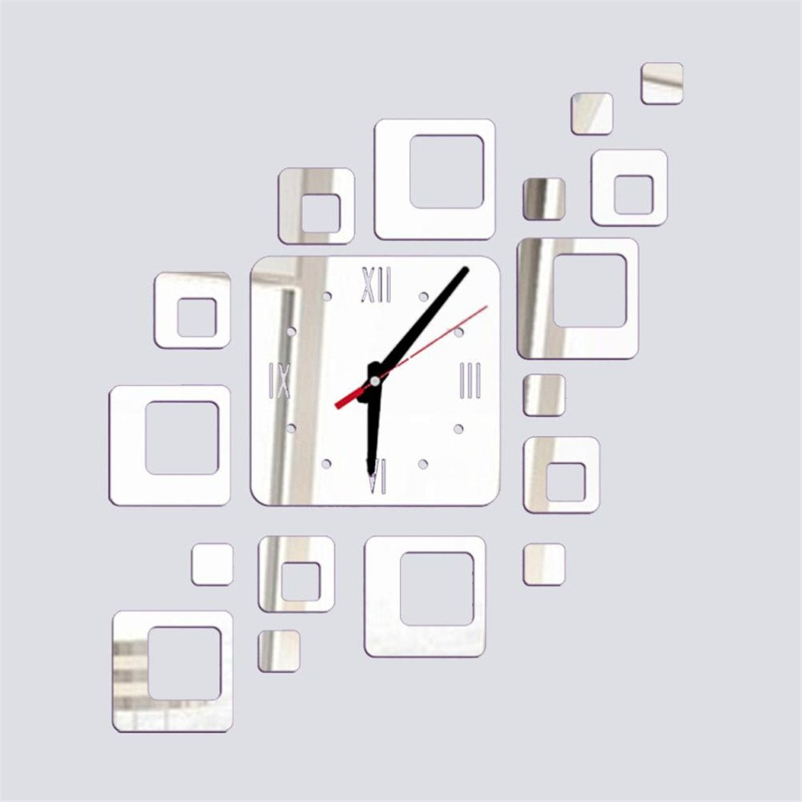 Amazon.com: TIFENNY Acrylic Mirror DIY Wall Sticker Clock, Living Room Bedroom Modern Watch Decor Wall-mounted Vinyl Wall Sticker (Silver): Home & Kitchen