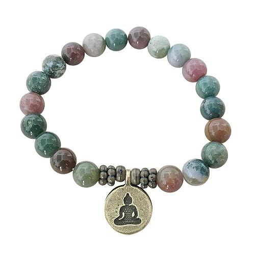 6ac23d7b5670e9 Artisan Crafted Rose Quartz Jasper Agate Handmade Bracelet ~ OM Lotus Buddha  ~ Ethically Sourced Jewellery