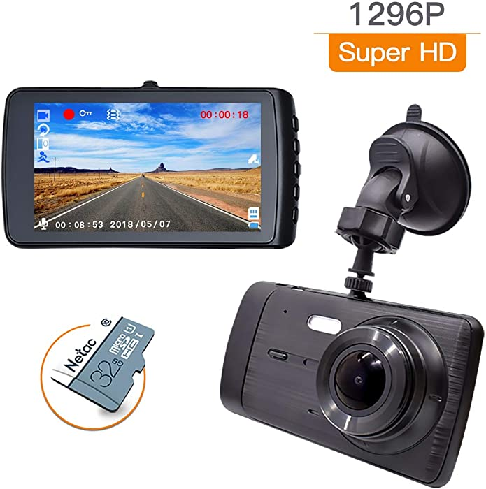 Dash Cam 1296P Dashboard Camera 4'' LCD Screen Full HD Car DVR Camera 170° Wide Angle, G-Sensor, WDR, Loop Recording, Parking Monitor, Motion Detection(32GB Card Includin)