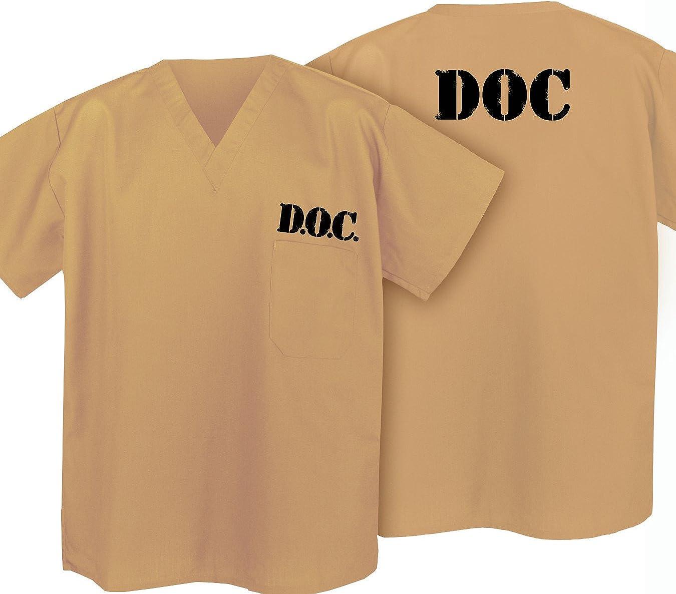 TAN SCRUBS TOPS SHIRT SCRUB Khaki SHIRTS great Costume JAIL or Prison Uniform