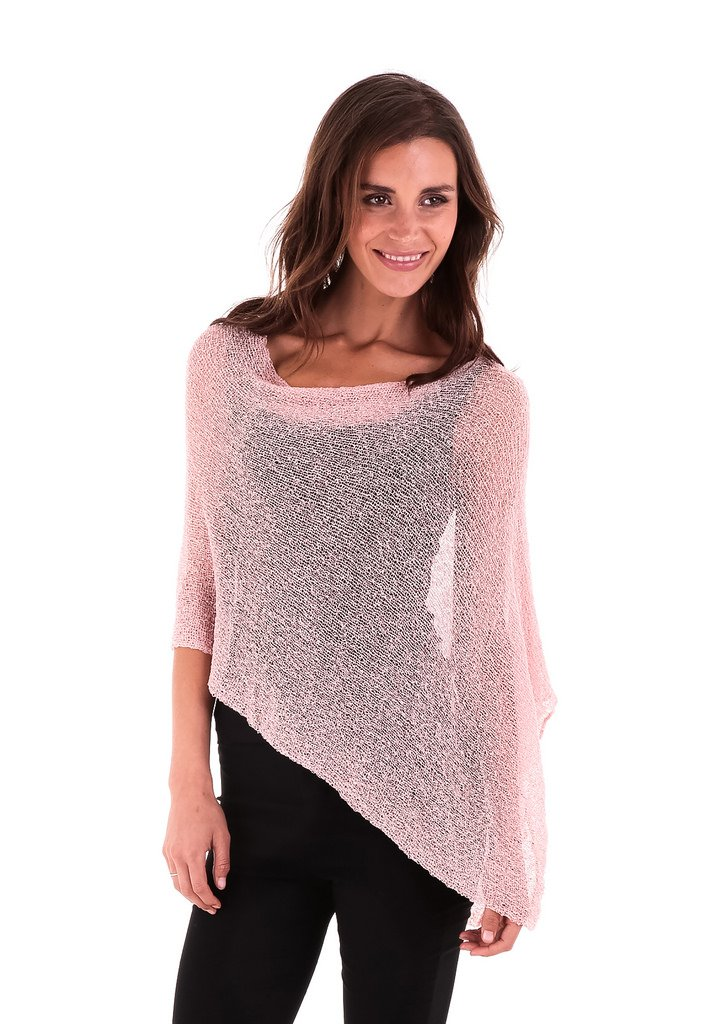 SHU-SHI Womens Sheer Poncho Shrug Lightweight Knit Dusty Pink One Size Fits Most