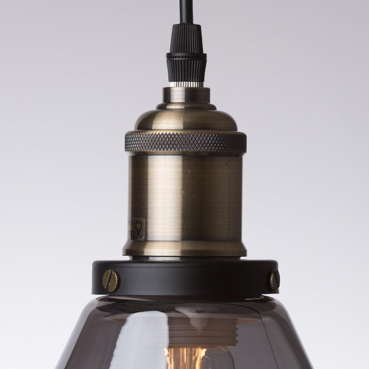 Ledmasters Smoked Glass Pendant Light Vintage Retro Industrial Ceiling