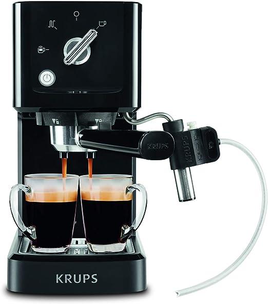 Krups Calvi Latte XP345810 cafetera espresso con accesorio para capucchino,15 bares de presión, sistema de regulación térmica, capacidad de 1 litro, selección manual ...
