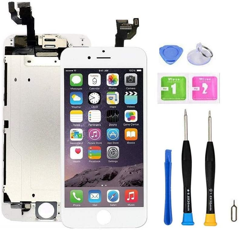 """Screen Replacement Compatible with iPhone 6 4.7"""" Full Assembly -Touch Display Digitizer with Sensors and Front Camera, Compatible with iPhone 6 4.7inch (White)"""