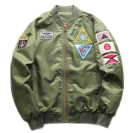 FuweiEncore Chaqueta de piloto de Motocicleta Militar Verde Militar para Hombres (Color : Ejercito Verde