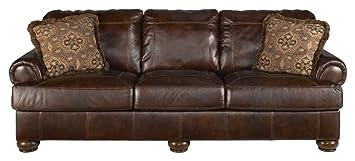 Ashley Axiom Traditional Walnut Brown Genuine Leather Sofa