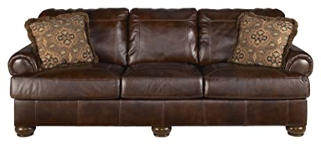 Ashley Furniture Signature Design   Axiom Sofa With 2 Accent Pillows    Genuine Leather   Grand