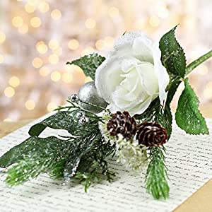 Factory Direct Craft Group of 4 Artificial Glittered Christmas Rose, Pinecone and Holiday Flower Stems 2
