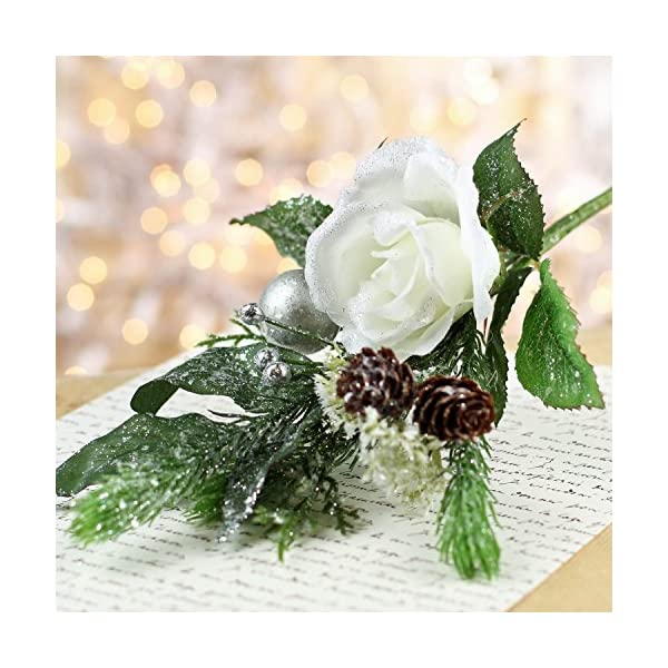 Factory-Direct-Craft-Group-of-4-Artificial-Glittered-Christmas-Rose-Pinecone-and-Holiday-Flower-Stems