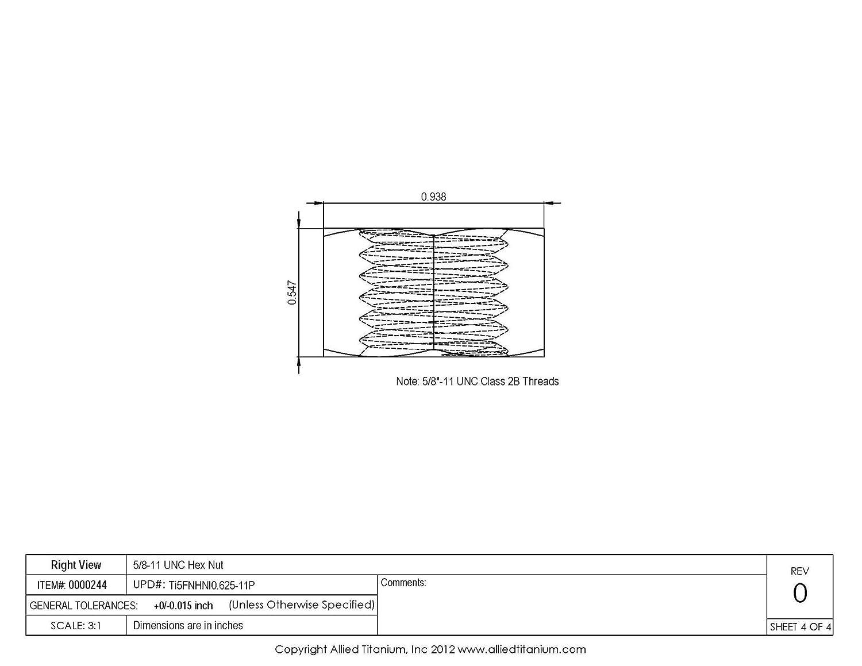 Allied Titanium 0000244, 608247001 Pack of 5 Grade 5 5//8-11 UNC Titanium Hex Nut Ti-6Al-4V Inc