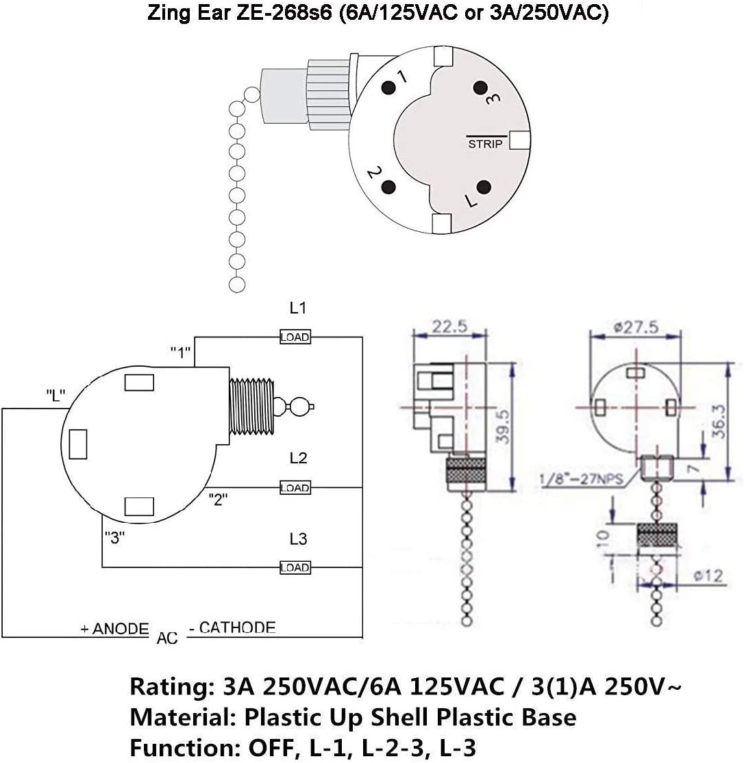Ceiling Fan Switch ZE-268S6,3 Speed 4 Wire Ceiling Fan Pull Chain Control,Pull Chain Cord Switch Control for Ceiling Fans,Bronze: Home Improvement
