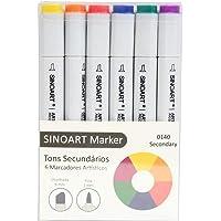 Marcador Artístico Sinoart Marker 06 Tons Secundárias Sinoart, 6 Tons Secundarios