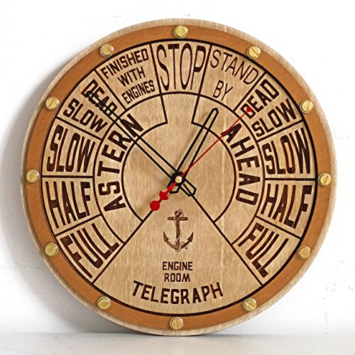 Bulova Gold Pocket Watch (Engine order telegraph unique wooden wall clock, personalized gift, wall art, nautical decor, marine decoration)