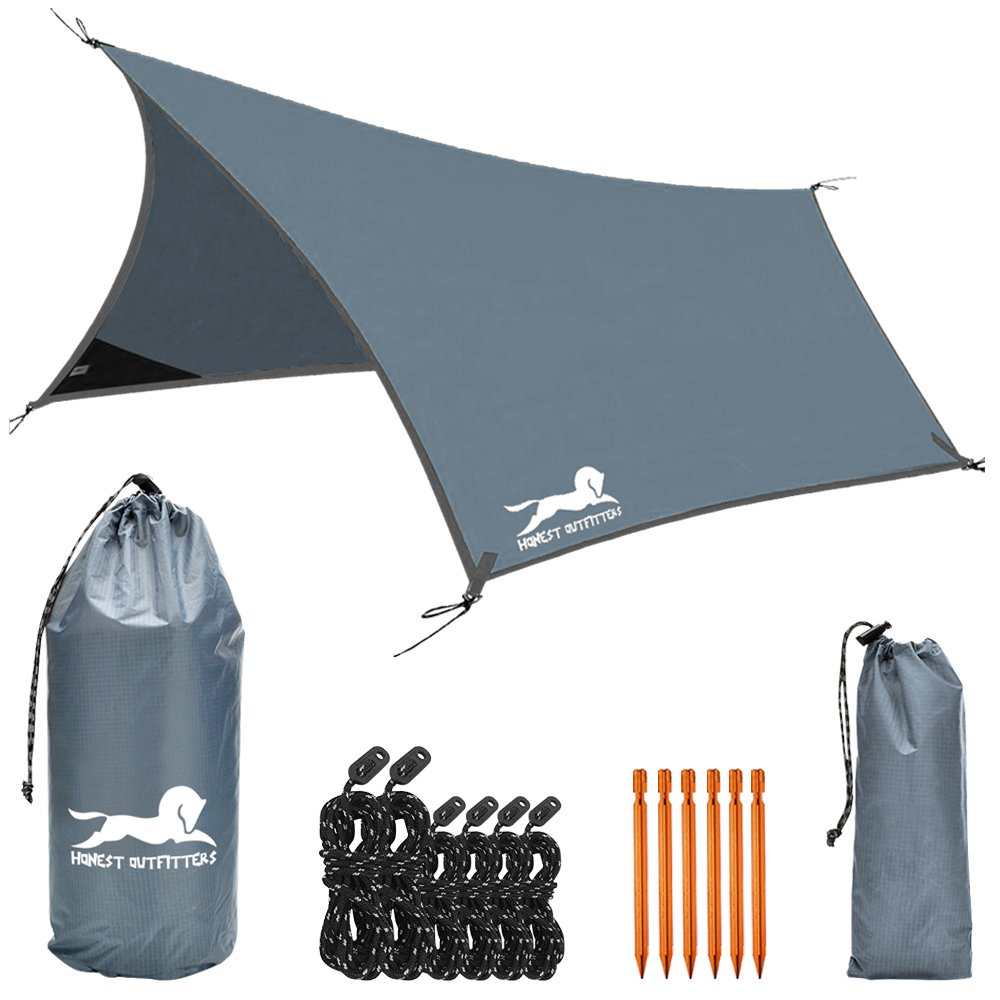 HONEST OUTFITTERS Hammock Rain Fly-Waterproof for Camping Backpacking(Grey) by HONEST OUTFITTERS