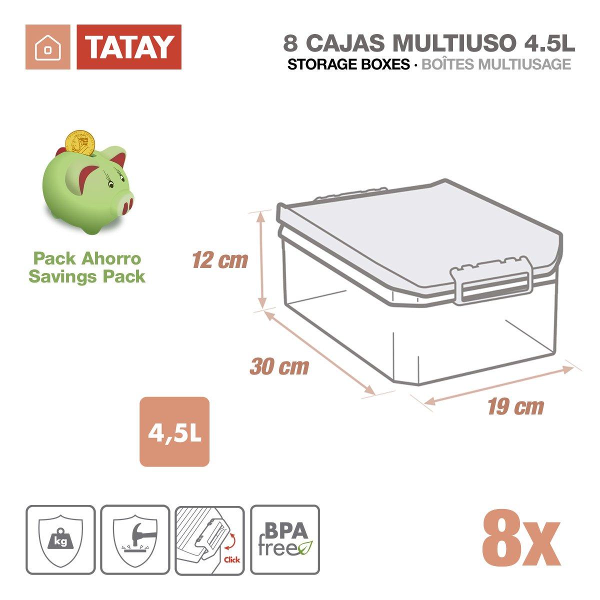 TATAY 1150222 - Lote de 8 Cajas Multiusos de 4.5 Litros por Unidad. Medidas 19 x 30 x 12.5 cm, Color Gris: Amazon.es: Hogar