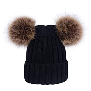 Lau s Kids Girls Warm Winter Knitted Beanie Bobble Hat Cap with Two Pom  Poms Black 84a3e20fa3b