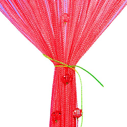 String Curtain Panel, Colorful Beads Door Wall Window Doorways Panel Fly Screen Fringe Room Divider Blinds, Decorative Tassel Ribbon Strip Screen Living Room, Bedroom, Party Events (Red) ()